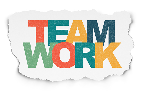 Business concept: Teamwork on Torn Paper background